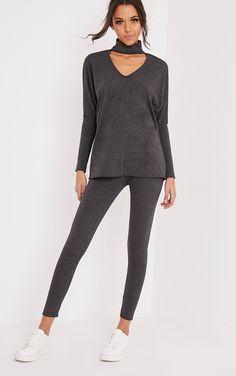 Kaia Charcoal Choker Detail Oversized Top & Leggings Set | Lounge Wear | PrettyLittleThing