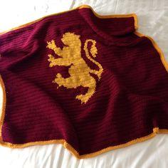 Harry Potter crochet throw blanket Gryffindor by KitschyHoneybees