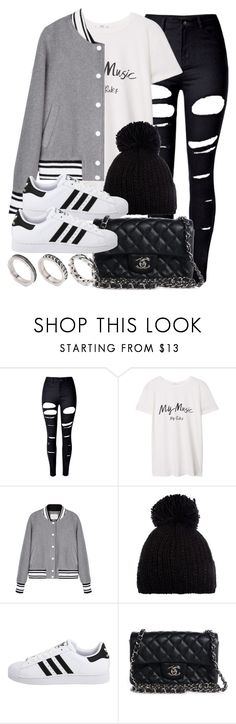 """Style #11736"" by vany-alvarado ❤ liked on Polyvore featuring WithChic, MANGO, Barts, adidas Originals, Chanel and ASOS"