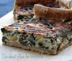 Tarte aux blettes, chèvre, raisins secs et pignons (si pas de pignons, noisettes concassées )