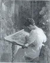 Victor Hecht  (1873 - 1931), Woman Embroidering