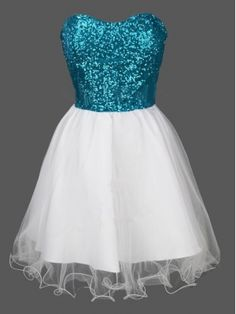 I LOVE this dress - the bodice is such a pretty sparkly blue (b/c it's a bit darker but not cobalt or royal) and the sweetheart neckline and the white skirt with the overlay is just pretty -- #homecoming