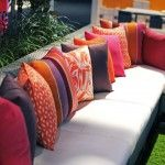 love these colours for the patio this year! Outdoor Living, Outdoor Decor, Decks, Decor Ideas, Couch, Colours, Awesome, Furniture, Design