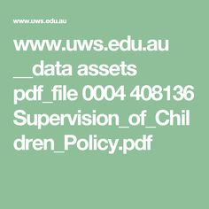 au __data assets pdf_file 0004 408136 Supervision_of_Children_Policy. Intercultural Communication, Equality, Leadership, Pdf, Study, Math Equations, Chen, Identity, Students