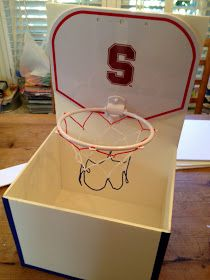 Tutorial for making a box with a basketball hoop attached, made from foam board.  Possible valentine box?