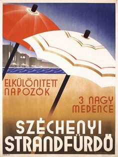 Original 1930s Hungarian Beach Travel Poster RICHT - by PosterConnection Inc.