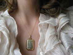 vintage locket / 1940s jewelry / FORSYTHIA by jeanjeanvintage, $64.00