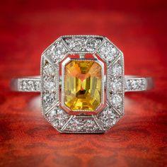 Yellow Sapphire Diamond Cluster Ring Platinum 1ct Sapphire 1ct Of Diamond Sapphire Rings, Diamond Cluster Ring, Diamond Clarity, Sapphire Diamond, All Gems, Art Deco Period, Art Deco Fashion, Frame, Sparkle
