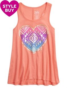 Shop Aztec Heart Graphic Tank and other trendy girls activewear clothes at Justice. Find the cutest girls clothes to make a statement today.