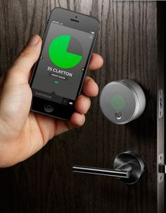 The August Smart Lock is a door lock that uses your smart phone as the key. It's not actually a lock, but a device that fits over your existing lock. It connects to your phone via Bluetooth and is controlled through the August app.