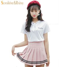 Promotion price  2017 summer new  girls skirts pleated schoolgirls skirt uniforms cos macarons waist solid pleated skirt stripe skirt  female just only $14.18 with free shipping worldwide  #womanskirts Plese click on picture to see our special price for you