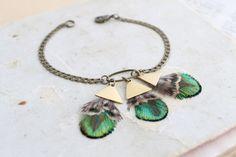 Bracelet bronze plumes de paon irisé vert or