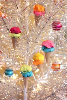Easy Paper Ice Cream Cone Ornaments