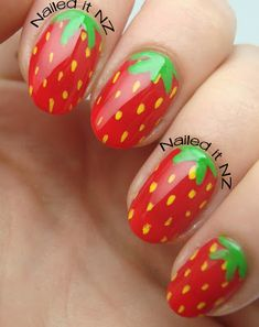 Strawberry nails tutorial. But your ring finger as a tennis ball - perfect for Wimbley.