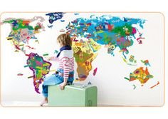 Interactive World Map Wall Sticker. Preferably, I'd like a floor-to-ceiling world mural (possibly even interactive that lights up). Kids need to learn about the world from when they are young. But still, this could be cool.