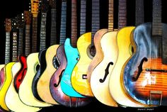 New Guitars Print Colorful Stringed Instruments Music Art