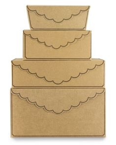 """I love meri meri...  These gift boxes with contrasting edging and decorative scalloped-edge flaps are perfect for presenting gifts from the heart.   Made of sturdy paper and food-safe inks. Homespun natural kraft with brown edging.   Cake box holds one 8""""–9"""" cake. (4)   Cupcake box holds 6 cupcakes and has a removable inner tray to keep cupcakes stable and prevent shifting. Set of 4.   Cookie boxes hold approx. one dozen cookies. (6)   Candy boxes, set of 10 includes 5 small and 5 large boxes."""