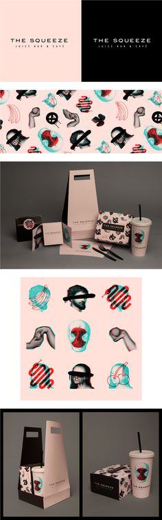 The Squeeze Juice Bar & Cafe Takeaway Packaging by Laura Pursel                                                                                                                                                                                 Más