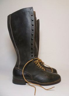 Up for sale is a RARE find from the 40's. Made In The USA. Factory Oiled Leather. Style : Linesman Boots. Soles : Stitched and Tacked Leather w/ Rubber Penny Co. Heels (Excellent Condition) Looks to be worn once if that.