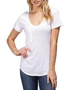 Bobi SS Front Pocket Relaxed VNeck Tee Large White * Continue to the product at the image link.(This is an Amazon affiliate link and I receive a commission for the sales)