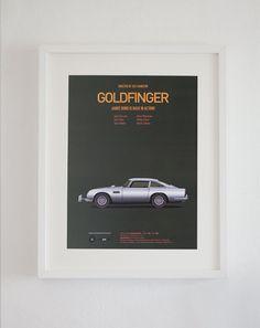 Goldfinger inspired movie poster art print A3 Cars by CarsAndFilms, €21.00