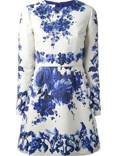 VALENTINO Floral Print Dress Valentino Dress, Valentino Bridal, White Long  Sleeve Dress, Blue fc09eeb0df