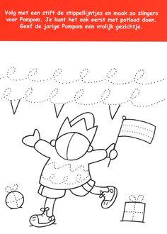 Werkblad motoriek: Pompom I Love School, Pre School, Pre Writing, Writing Skills, Theme Carnaval, Handwriting Sheets, Winter Pictures, Fine Motor Skills, Preschool Activities