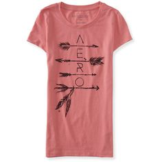 Aero Arrow Graphic T ($8) ❤ liked on Polyvore featuring tops, t-shirts, phlox pink, graphic tees, lightweight t shirts, pink top, ripped t shirt and pink graphic tee