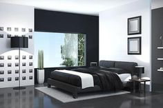 Contemporary black and white bedroom. - tulcarion/E+/Getty Images