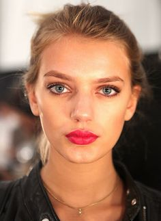 makeup, not hair.  love the natural skin, bold eyebrows and bright lips.