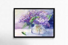 Flower Print, Printable Art, Lilac, Watercolor Flowers, digital Download, Blue Wall Art, Home Decor, Wall Decor by EkaDS on Etsy
