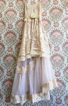 ivory & tan asymmetrical crochet Lace organza off beat bride boho wedding dress by mermaid miss k on Etsy, $200.00