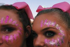 Face paint and glitter for the big Pink Out football game! #pinkout #cheer