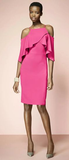 Off the Shoulder Sheath Jersey Cocktail Dress Midi Pink Formal Gown #macloth #dress #gown #cocktaildress #wedding #weddingpartydress #formaldress #formalgown #vintage #pinkdress #partydress