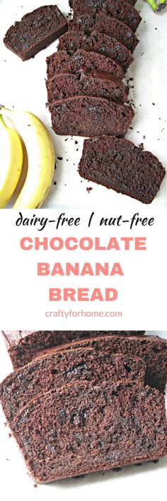 Nut-free, dairy-free Double Chocolate Banana Bread,a moist, chocolatey, not too sweet banana bread for breakfast ideas or snack time #bananabread #chocolatebananabread #breadrecipes recipe on craftyforhome.com