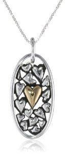 "Sterling Silver ""The Love Between a Mother and Daughter Knows No Distance"" with Gold-Plated Heart Pendant Necklace, 18"""
