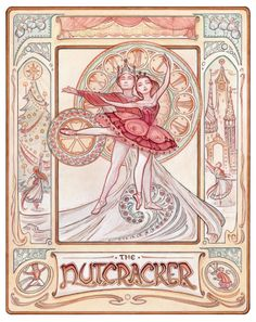 Welcome to the Land of Sweets! This Art Nouveau style poster is a loving tribute to the Nutcracker ballet. Its filled with fun details: from the