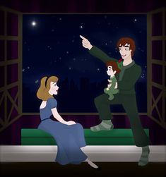 Wendy and Peter, if Peter chose to stay with Wendy, and they grew up together, and fell in love.  They have a little boy named Charlie, and he's wearing Peter's old hat.  Shines in the Night for You by ~Grodansnagel on deviantART