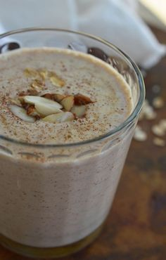 Almond Milk Breakfast Smoothie Recipe - a healthy and satisfying breakfast made with almond butter, almond milk, banana, maple syrup and oats.