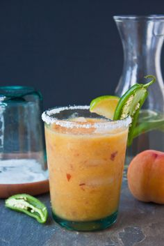peach jalapeno margs.... courtesy of KF.  even just need to make the jalapeno simple syrup