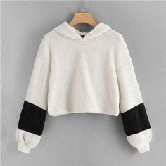 White Fluffy Crop Teddy Hoodie Casual Long Sleeve Hooded Sweatshirt...