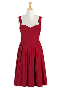 I <3 this Hailey dress from eShakti | Color: True red Figure-enhancing seams define our feminine fifties inspired dress with a framed bodice, wide curved waist and a pleated full skirt. Slips on over head, partial side zip closure. Sweetheart neckline.