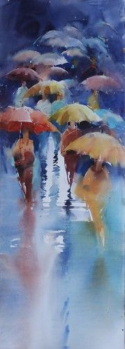 Rainy Day watercolor by Viktoria Prischedko  [per previous pinner]