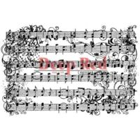 """Tampon monté sur mousse - """"Music flourish""""  Deep Red Cling Stamp"""