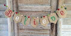 Believe Burlap Banner Holiday Banner, Christmas Banners, Burlap Christmas, Christmas Minis, Holiday Fun, Holiday Decor, Burlap Crafts, Christmas Crafts, Christmas Ideas