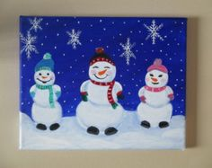 Cute Frosty the snowman canvas paint idea for wall decor. Canvas painting. Wall art. Merry Christmas. Winter. Red, green, blue, black, pink and white. Snowflakes. Snow. Personalize. Snowman. 3 Snowmen. Scarfs.