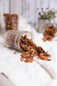 Crunchy coconut oil granola made with oats, pecans, almonds, honey, chia & flax. Perfect for snacking or an on-the-go breakfast.