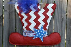 4th of July UNCLE SAM Hat Burlap Door Hanger by monkeylynnedesigns, $38.00