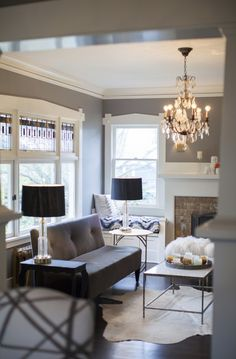 grey living room // coco+kelley - love that wall color