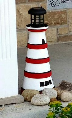 Lighthouse made from terra cotta pots